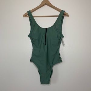Hot Water | One Piece Swim Suite | Green | Medium